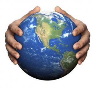 hands on a globe of earth